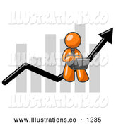 Royalty Free Stock Illustration of a Friendly Orange Man Using a Laptop Computer, Riding the Increasing Arrow Line on a Business Chart Graph by Leo Blanchette