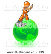 Royalty Free Stock Illustration of a Friendly Orange Man Using a Wet Mop with Green Cleaning Products to Clean up the Environment of Planet Earth by Leo Blanchette