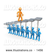 November 13th, 2013: Royalty Free Stock Illustration of a Friendly Orange Man Walking Upwards on Steps That Are Held by Blue Men Below, Symbolizing Support, Trust and Achievement by 3poD