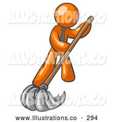 Royalty Free Stock Illustration of a Friendly Orange Man Wearing a Tie, Using a Mop While Mopping a Hard Floor to Clean up a Mess or Spill by Leo Blanchette