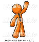 Royalty Free Stock Illustration of a Friendly Orange Office Man Greeting and Waving by Leo Blanchette