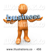 Royalty Free Stock Illustration of a Friendly Orange Person Holding a Blue Business Sign by 3poD
