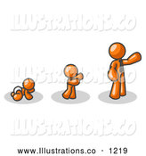 Royalty Free Stock Illustration of a Friendly Orange Person in His Growth Stages of Life, As a Baby, Child and Adult by Leo Blanchette