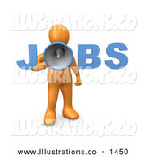 Royalty Free Stock Illustration of a Friendly Orange Person Speaking Through a Megaphone with the Word Jobs, Recruiting People for Occupations by 3poD
