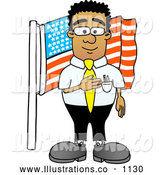 November 12nd, 2013: Royalty Free Stock Illustration of a Friendly Patriotic Black Businessman Mascot Character Pledging Allegiance to an American Flag by Toons4Biz