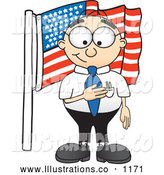 November 12nd, 2013: Royalty Free Stock Illustration of a Friendly Patriotic Male Caucasian Office Nerd Business Man Mascot Character Pledging Allegiance to an American Flag by Toons4Biz