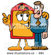Royalty Free Stock Illustration of a Friendly Price Tag Mascot Cartoon Character Talking to a Business Man by Toons4Biz