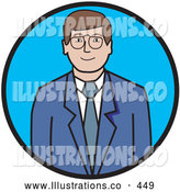 Royalty Free Stock Illustration of a Friendly Professional Businessman in a Blue Suit and White Shirt, Wearing Glasses by Andy Nortnik