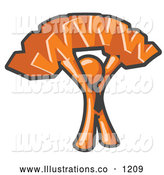 Royalty Free Stock Illustration of a Friendly Proud Orange Business Man Holding WWW over His Head by Leo Blanchette