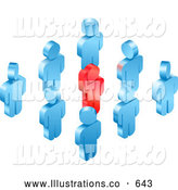 Royalty Free Stock Illustration of a Friendly Red Individual Raising Their Hand While Standing in a Group of Blue Employees or Volunteers by AtStockIllustration