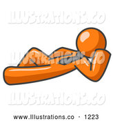 Royalty Free Stock Illustration of a Friendly Relaxed Orange Businessman Reclining by Leo Blanchette