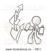 Royalty Free Stock Illustration of a Friendly Sketched Design Mascot Business Man Spray Painting a Graffiti Dollar Sign on a Wall by Leo Blanchette