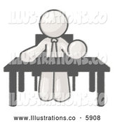 Royalty Free Stock Illustration of a Friendly Sketched Design Mascot Businessman Wearing a Tie and Sitting at a Desk or Table During a Meeting by Leo Blanchette