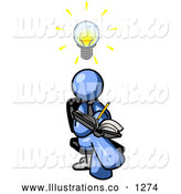 Royalty Free Stock Illustration of a Friendly Smart Blue Man Seated with His Legs Crossed, Brainstorming and Writing Ideas down in a Notebook, Lightbulb over His Head by Leo Blanchette