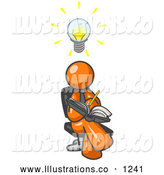 Royalty Free Stock Illustration of a Friendly Smart Orange Man Seated with His Legs Crossed, Brainstorming and Writing Ideas down in a Notebook, Lightbulb over His Head by Leo Blanchette