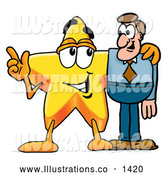 Royalty Free Stock Illustration of a Friendly Star Mascot Cartoon Character Talking to a Business Man by Toons4Biz