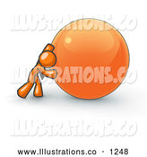 Royalty Free Stock Illustration of a Friendly Strong Orange Business Man Pushing an Orange Sphere by Leo Blanchette