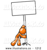 Royalty Free Stock Illustration of a Friendly Strong Orange Man Pushing a Blank Sign Upright by Leo Blanchette