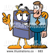Royalty Free Stock Illustration of a Friendly Suitcase Cartoon Character Talking to a Business Man by Toons4Biz