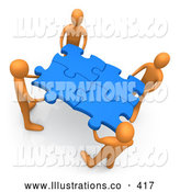 Royalty Free Stock Illustration of a Friendly Team of Four Orange People Holding up Connected Pieces to a Gold Puzzle, Symbolizing Excellent Teamwork, Success and Link Exchanging by 3poD