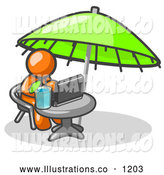 Royalty Free Stock Illustration of a Friendly Traveling Orange Business Man Sitting Under an Umbrella at a Table Using a Laptop Computer by Leo Blanchette