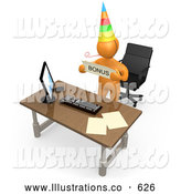 Royalty Free Stock Illustration of a Friendly Well Deserving Orange Figure Employee Wearing a Party Hat and Blowing on a Noise Maker While Standing Behind His Office Desk and Holding a Bonus Sign by 3poD