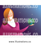 Royalty Free Stock Illustration of a Friendly White Business Woman Holding a Globe by Prawny