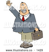 November 13th, 2013: Royalty Free Stock Illustration of a Friendly White Businessman with Braces, Smiling, Waving and Carrying a Briefcase by Djart