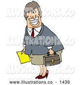 November 13th, 2013: Royalty Free Stock Illustration of a Friendly White Businesswoman with Braces, Smiling and Carrying a Letter and Briefcase by Djart