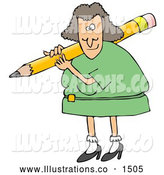November 14th, 2013: Royalty Free Stock Illustration of a Friendly White Female Teacher in a Green Dress, Carrying a Giant Yellow Pencil on Her Shoulder, Grading Student Papers by Djart
