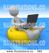November 11th, 2013: Royalty Free Stock Illustration of a Friendly White Person, a Workaholic, Floating on a Yellow Inner Tube in the Ocean While Typing on a Laptop Computer by 3poD