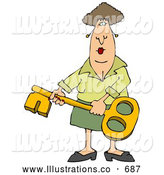 Royalty Free Stock Illustration of a Friendly Woman Holding a Skeleton Key by Djart