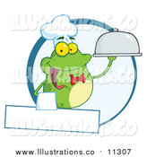 Royalty Free Stock Illustration of a Frog Waiter Holding a Cloche over a Blank Banner by Hit Toon