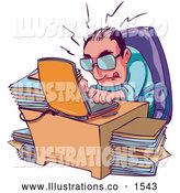 Royalty Free Stock Illustration of a Frustrated, Stressed and Overwhelmed Businessman Typing Away on His Laptop at His Desk, Surrounded by Stacks of Files by Tonis Pan