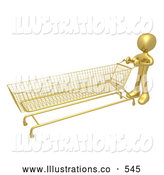 Royalty Free Stock Illustration of a Gold Man Pushing a Super Long Shopping Cart in a Store While Planning to Purchase a Lot by 3poD