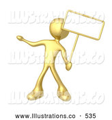 Royalty Free Stock Illustration of a Gold Man Standing and Holding up a Blank Sign for an Advertisement by 3poD
