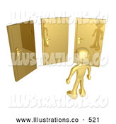 Royalty Free Stock Illustration of a Gold Man Standing in Front of Three Different Golden Doors, Symbolizing Someone with Only Amazing Opprotunities Ahead by 3poD