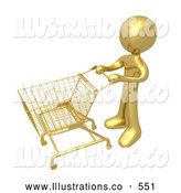 Royalty Free Stock Illustration of a Gold Man Standing with an Empty Shopping Cart in a Store by 3poD
