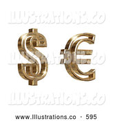 Royalty Free Stock Illustration of a Golden American Dollar Money and Euro Symbols on a White Background by Anastasiya Maksymenko