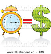 November 7th, 2013: Royalty Free Stock Illustration of a Golden Ring Alarm Clock by a Dollar Sign, Time Equals Money by Maria Bell