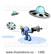 Royalty Free Stock Illustration of a Goofy Blue Man Fighting off UFO's with Weapons by Leo Blanchette