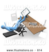 Royalty Free Stock Illustration of a Goofy Clumsy Blue Business Person Falling Backwards After Leaning Too Far Back in a Chair at His Computer Desk While Comparing Graphs on a Printout and on the Computer by 3poD