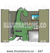 Royalty Free Stock Illustration of a Goofy Green Dinosaur Sitting in a Chair at a Desk in an Employee Office Cubicle and Working by Djart