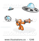 Royalty Free Stock Illustration of a Goofy Orange Man Fighting off UFO's with Weapons by Leo Blanchette