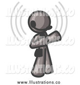 Royalty Free Stock Illustration of a Gray Customer Service Representative with a Headset by Leo Blanchette