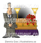 Royalty Free Stock Illustration of a Gray Haired Male Funeral Director Standing Beside a Casket by Djart