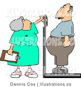 Royalty Free Stock Illustration of a Gray Haired Nurse Weighing Overweight Man on a Scale by Djart