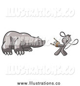 Royalty Free Stock Illustration of a Gray Man Taming a Bear, Bear Market by Leo Blanchette