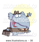 November 13th, 2013: Royalty Free Stock Illustration of a Gray Professional Elephant Business Guy in a Hat and Suit, Carrying a Briefcase to Work and Waving by Hit Toon