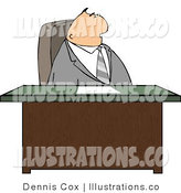 Royalty Free Stock Illustration of a Gray Suited Male Lawyer Sitting Behind His Business Desk in His Office by Djart
